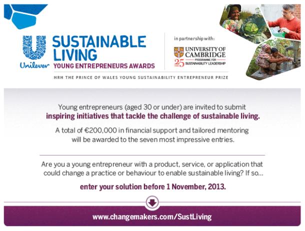 Unilever Sustainable Living Young Entrepreneurs Award