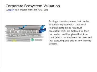 Corporate Ecosystem Valuation